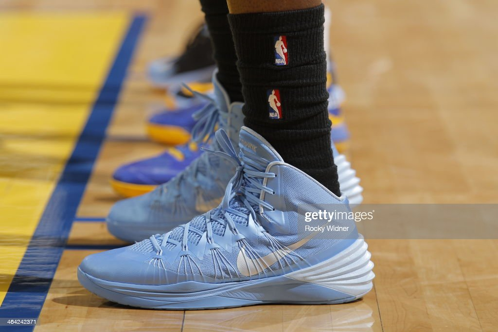 The shoes worn by <a gi-track='captionPersonalityLinkClicked' href=/galleries/search?phrase=J.J.+Hickson&family=editorial&specificpeople=4226173 ng-click='$event.stopPropagation()'>J.J. Hickson</a> #7 of the Denver Nuggets during a game against the Golden State Warriors on January 15, 2014 at Oracle Arena in Oakland, California.
