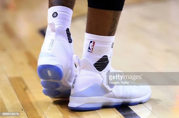 The shoes worn by JR Smith of the Cleveland Cavaliers in the first half of Game Four of the Eastern Conference Semifinals against the Toronto Raptors...