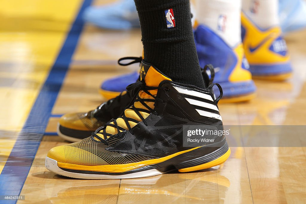 The shoes worn by <a gi-track='captionPersonalityLinkClicked' href=/galleries/search?phrase=Kenneth+Faried&family=editorial&specificpeople=5765135 ng-click='$event.stopPropagation()'>Kenneth Faried</a> #35 of the Denver Nuggets during a game against the Golden State Warriors on January 15, 2014 at Oracle Arena in Oakland, California.