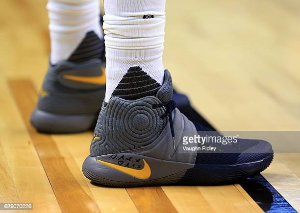 The shoes worn by Kyrie Irving of the Cleveland Cavaliers during the first half of an NBA game against the Toronto Raptors at Air Canada Centre on...