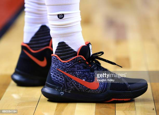The shoes worn by Kyrie Irving of the Cleveland Cavaliers in the first half of Game Four of the Eastern Conference Semifinals against the Toronto...