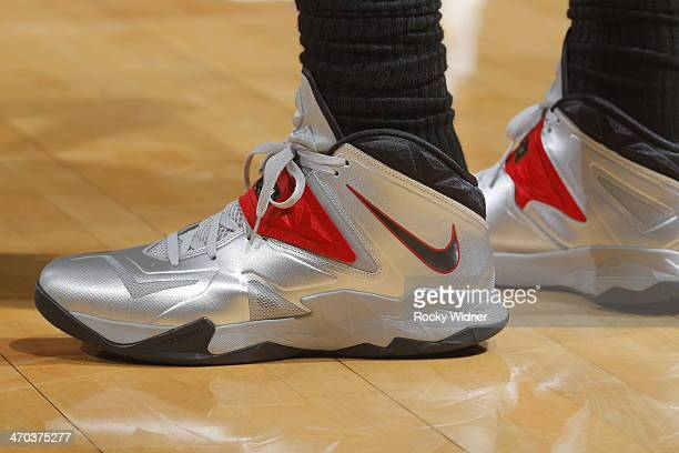 The shoes worn by LeBron James of the Miami Heat during a game against the Golden State Warriors on February 12 2014 at Oracle Arena in Oakland...