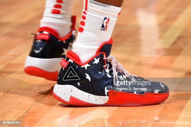the shoes worn by Lou Williams of the LA Clippers are seen during the game against the Philadelphia 76ers on November 13 2017 at STAPLES Center in...