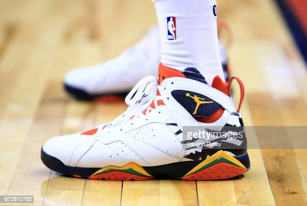 The shoes worn by PJ Tucker of the Toronto Raptors in the first half of Game Five of the Eastern Conference Quarterfinals against the Milwaukee Bucks...