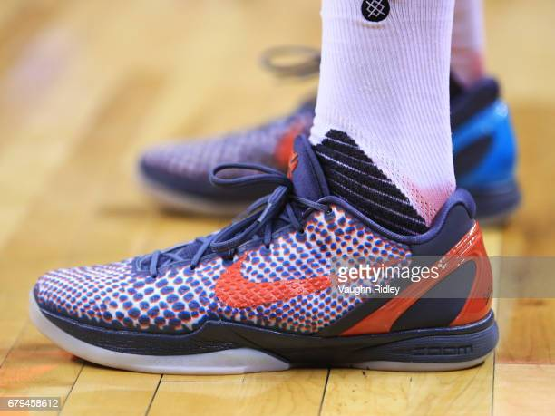 The shoes worn by PJ Tucker of the Toronto Raptors in the first half of Game Three of the Eastern Conference Semifinals against the Cleveland...