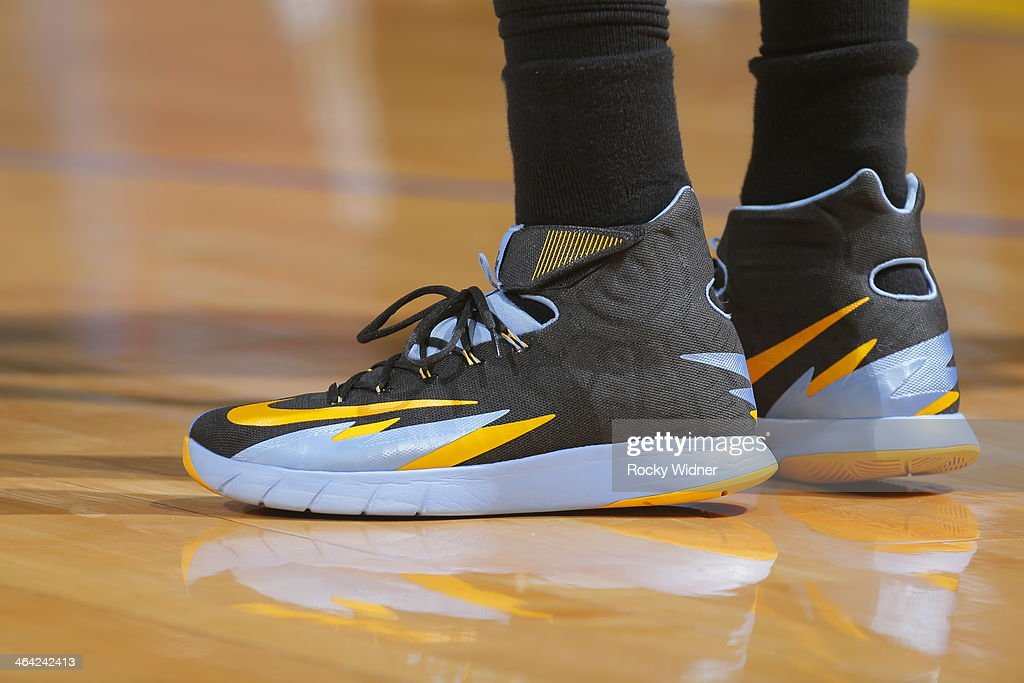 The shoes worn by <a gi-track='captionPersonalityLinkClicked' href=/galleries/search?phrase=Randy+Foye&family=editorial&specificpeople=240185 ng-click='$event.stopPropagation()'>Randy Foye</a> #4 of the Denver Nuggets during a game against the Golden State Warriors on January 15, 2014 at Oracle Arena in Oakland, California.