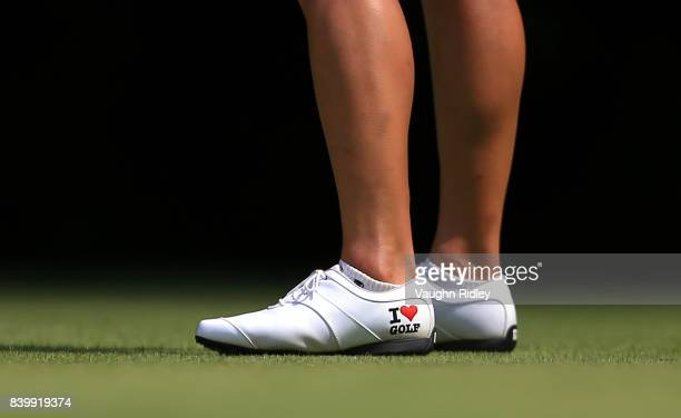 The shoes worn by So Yeon Ryu of Korea on the 4th tee during the final round of the Canadian Pacific Women's Open at the Ottawa Hunt Golf Club on...