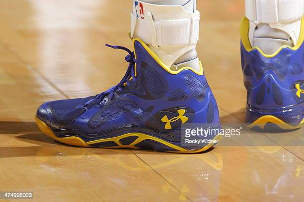 The shoes worn by Stephen Curry of the Golden State Warriors during a game against the Houston Rockets on February 20 2014 at Oracle Arena in Oakland...