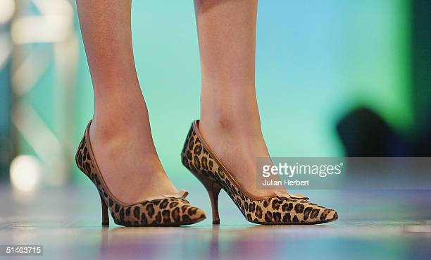 The shoes worn by Theresa May Shadow Secretary of State for The Family as she adresses delegates during day two of The Conservative Party Conference...