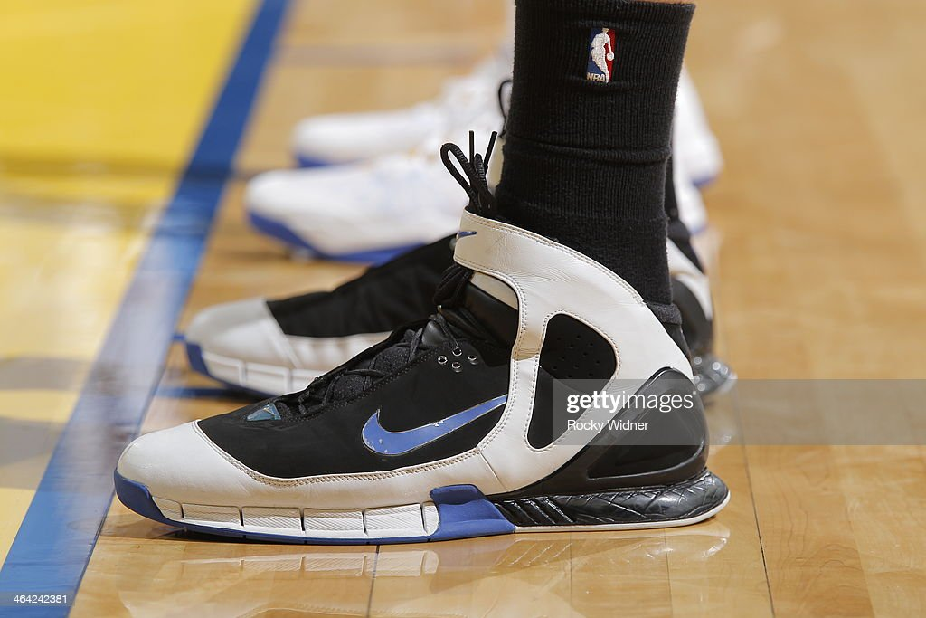 The shoes worn by <a gi-track='captionPersonalityLinkClicked' href=/galleries/search?phrase=Timofey+Mozgov&family=editorial&specificpeople=3949705 ng-click='$event.stopPropagation()'>Timofey Mozgov</a> #25 of the Denver Nuggets during a game against the Golden State Warriors on January 15, 2014 at Oracle Arena in Oakland, California.