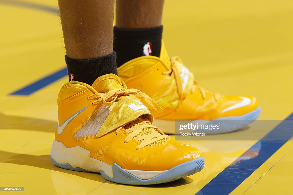 The shoes worn by <a gi-track='captionPersonalityLinkClicked' href=/galleries/search?phrase=Ty+Lawson&family=editorial&specificpeople=4024882 ng-click='$event.stopPropagation()'>Ty Lawson</a> #3 of the Denver Nuggets during a game against the Golden State Warriors on January 15, 2014 at Oracle Arena in Oakland, California.