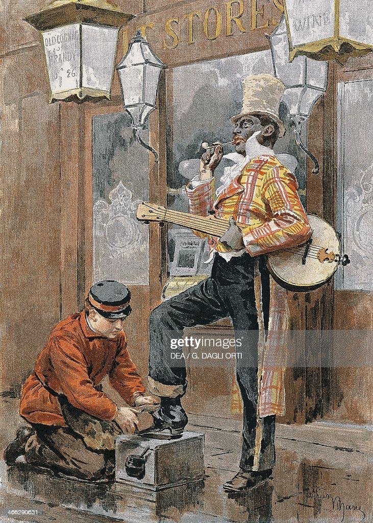 The shoeshine, print. United Kingdom, 19th century.