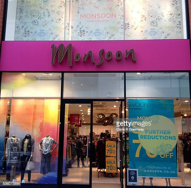 The shop front of clothing retailer Monsoon is pictured with sales signage displayed in the window