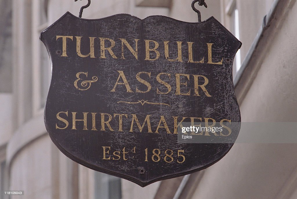 The shop sign for famous tailors Turnbull and Asser in Jermyn Street Piccadilly London England circa 1990 Established in 1885 it has been making...