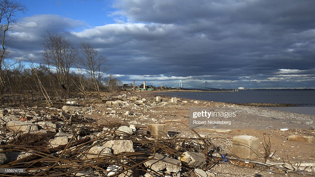 The shoreline is seen after Superstorm Sandy November 3, 2012 in New Dorp Beach in the Staten Island borough of New York. The storm left millions without power or water and affect business and daily life.
