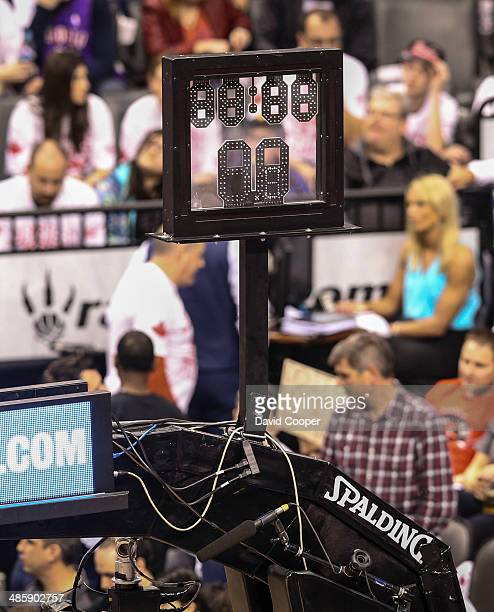 TORONTO ON APRIL 19 The Shot clock on the floor behind each net went dark during the third Quarter and remained that way for the rest of the game as...