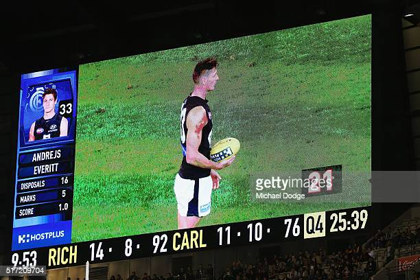The shot clock ticks down as Andrejs Everitt of the Blues lines up for goal during the round one AFL match between the Richmond Tigers and the...