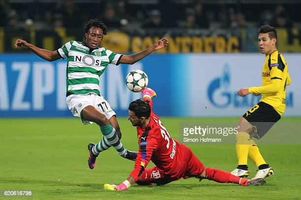 The shot of Gelson Martins of Sporting CP is saved by Roman Buerki of Borussia Dortmund during the UEFA Champions League Group F match between...