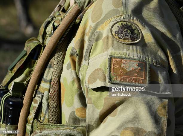 The shoulder insignia of an Australian soldier is seen at the Williamson airfied in the Shoalwater Bay Training Area as part of Battle Group Pegasus...