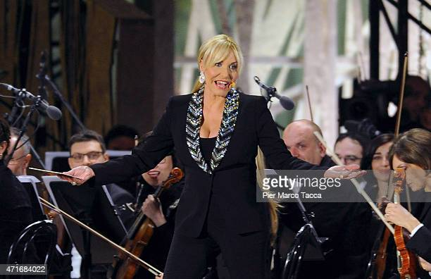 The showgirl Antonella Clerici during the Opening Event Expo 2015 at Piazza Duomo on April 30 2015 in Milan Italy