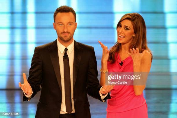The showgirl Belen Rodriguez and the anchor man Francesco Facchinetti during a TV show at the RAI studios