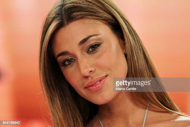 The showgirl Belen Rodriguez during a TV show at the RAI studios