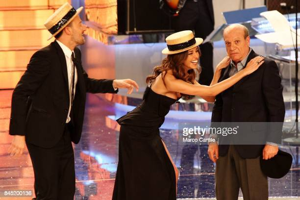 The showgirl Belen Rodriguez the anchor man Francesco Facchinetti and a comic actor during a TV show at the RAI studios