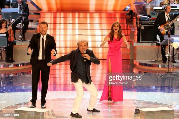The showgirl Belen Rodriguez the anchor man Francesco Facchinetti and a comic actor Jerry Calà during a TV show at the RAI studios