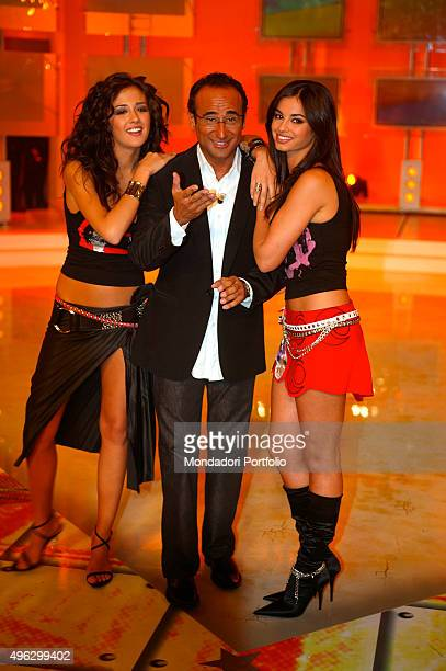 The showgirl Giorgia Palmas the TV presenter Carlo Conti and the model and actress Francesca Chillemi in a photocall on the set of the talent show I...