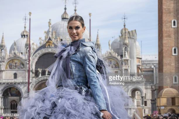 The showgirl Melissa Satta poses during the 'Volo dell'Aquila' at Piazza San Marco on February 26 2017 in Venice Italy The 2017 Venice Carnival runs...