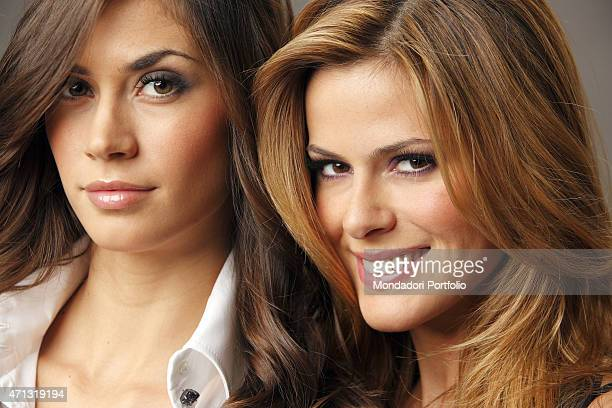 The showgirls and veline of the satyrical television newscast Striscia la notizia Thais Souza Wiggers and Melissa Satta posing for a photo shooting...