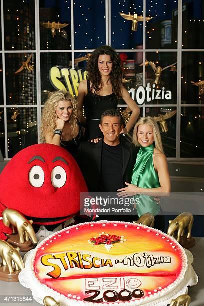 The showman Ezio Greggio celebrating in a photo shooting the 2000 episodes presented by himself of the TV show Striscia la notizia shooted at Palazzo...