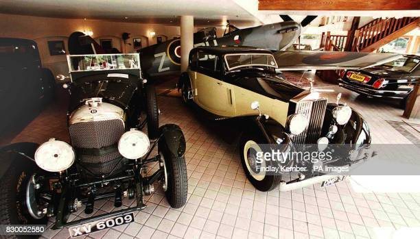 The showroom at P A Wood RollsRoyce car dealers of Great Easton Dunmow Essex today with a Mark 5 Spitfire which is for sale alongside the cars in the...