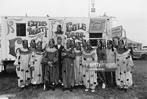 The 'Shrine Clowns' pose for a photograph outside the ticket office of the 'Clyde BeattyCole Bros Circus' USA 1971 The Shrine Clowns are a voluntary...