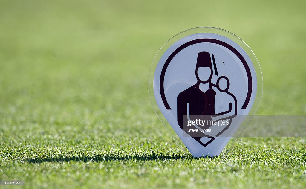 The Shriner logo is shown on the tee box of the 16th hole during the third round of the Justin Timberlake Shriners Hospitals for Children Open on...