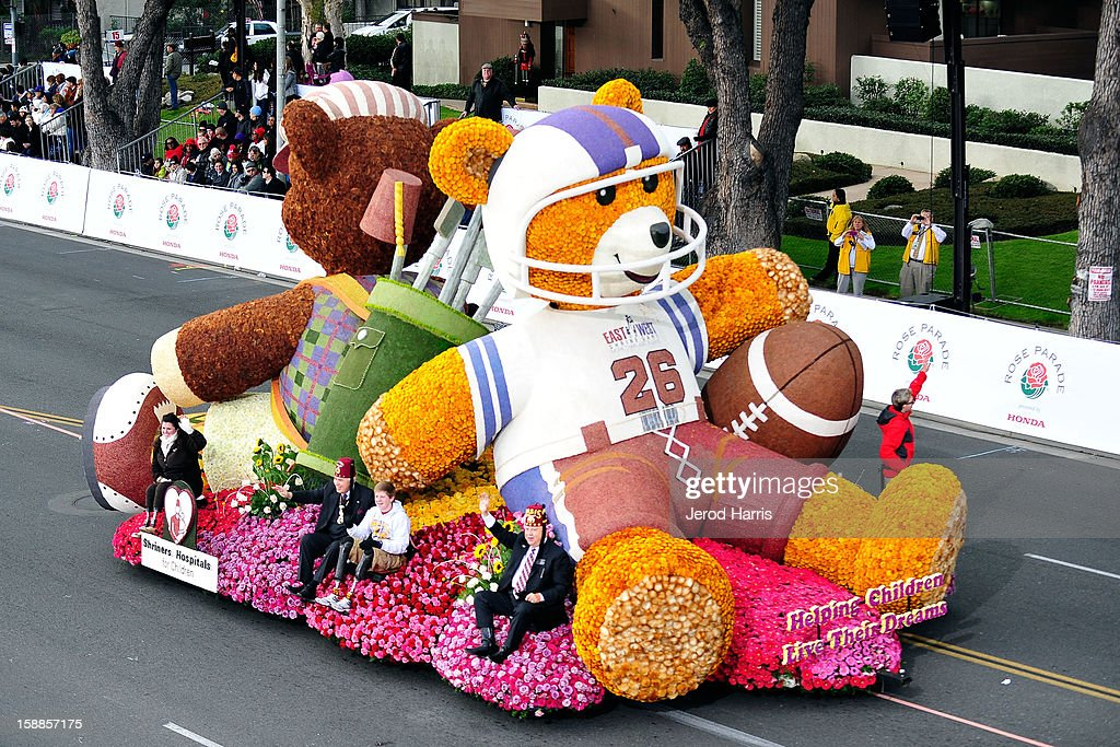 The Shriners Hospital float participates in the 124th annual Rose Parade themed 'Oh, the Places You'll Go!' on January 1, 2013 in Pasadena, California.