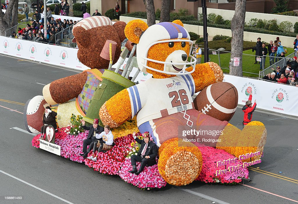 The Shriners Hospital float participates in the 124th Tournamernt of Roses Parade on January 1, 2013 in Pasadena, California.