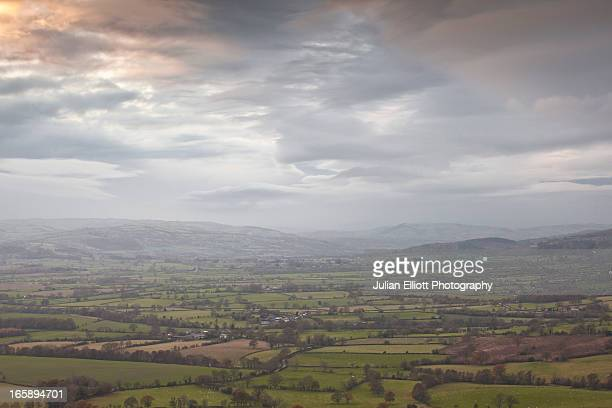 The Shropshire countryside from the Long Mynd.