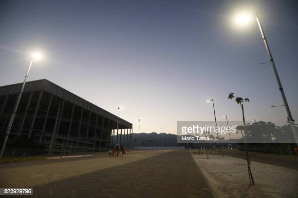 The shuttered Aquatics Stadium stands in the Olympic Park in the Barra da Tijuca neighborhood on July 23 2017 in Rio de Janeiro Brazil Nearly one...