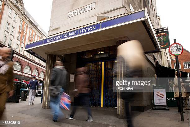 The shutters of Leicester Square tube station remain closed in central London on April 29 during a planned 48 hour underground train strike Millions...
