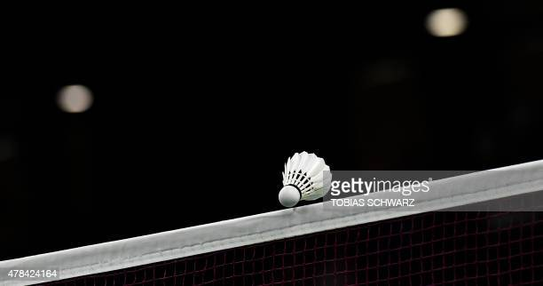 The shuttlecock is seen over the net during the women's singles badminton match between Finland's Airi Mikkela and Bulgaria's Linda Zetchiri at the...