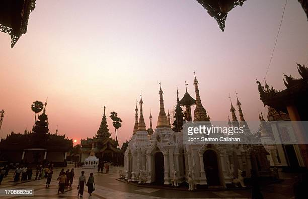 The Shwedagon Pagoda complex at sunset