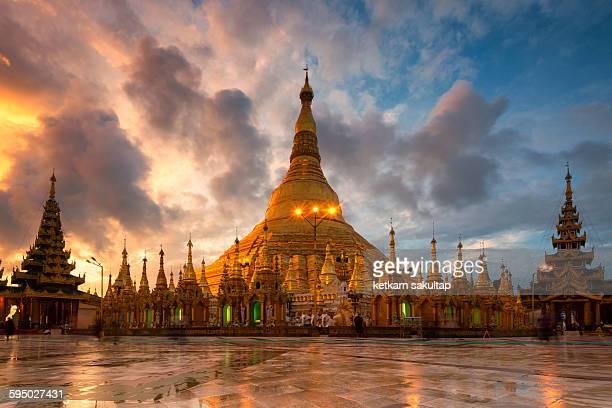 The Shwedagon Pagoda during sunrise,Yangon,Myanmar