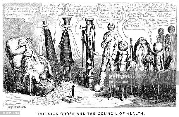 'The Sick Goose and the Council of Health' 19th century Satire on quack doctors and their patent medicines