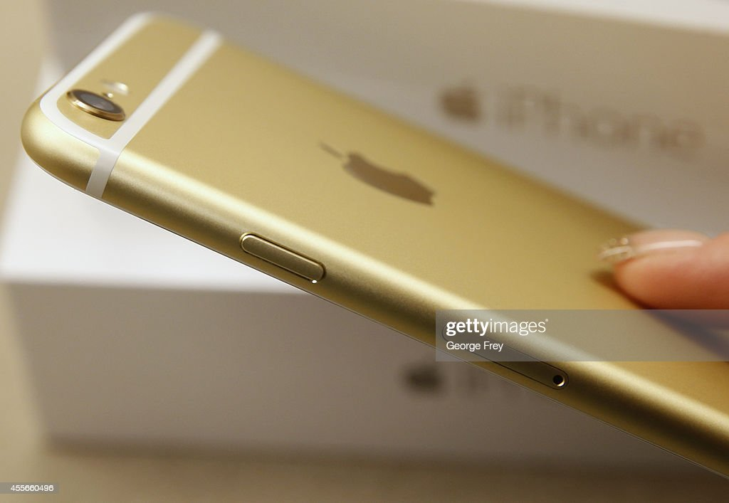 The side and power button of an Apple iPhone 6 Plus gold is shown here at a Verizon store on September 18 2014 in Orem Utah Apples new iPhone 6's go...