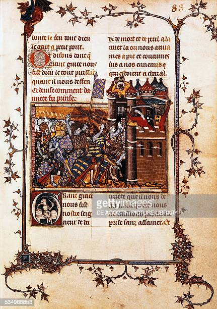 The Siege of Damietta during the 7th Crusade miniature from the Life of St Louis ca 1360 manuscript by Jean de Joinville Paris Bibliothèque Nationale...
