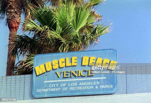 The sign above the Muscle Beach gym at Venice Beach Los Angeles