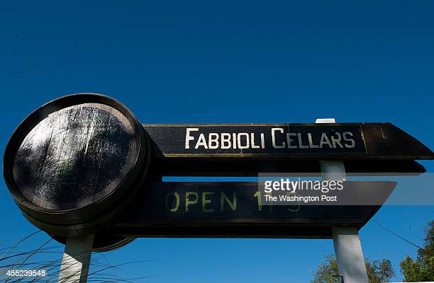 The sign at Fabbioli Cellars is made from an old cask August 28 2014 in Leesburg VA