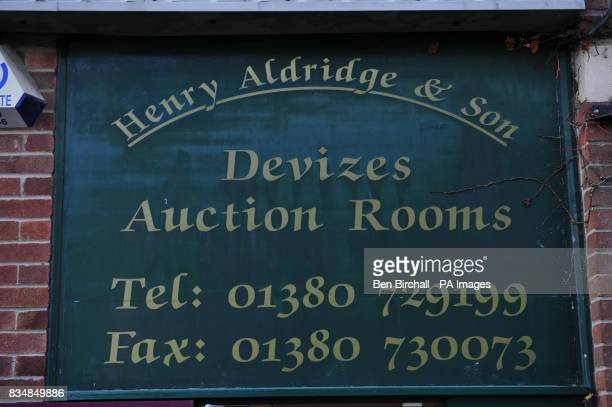 The sign at Henry Aldridge Son auctioneers in Devizes Wiltshire where items belonging to Millvina Dean the last remaining survivor of the Titanic are...