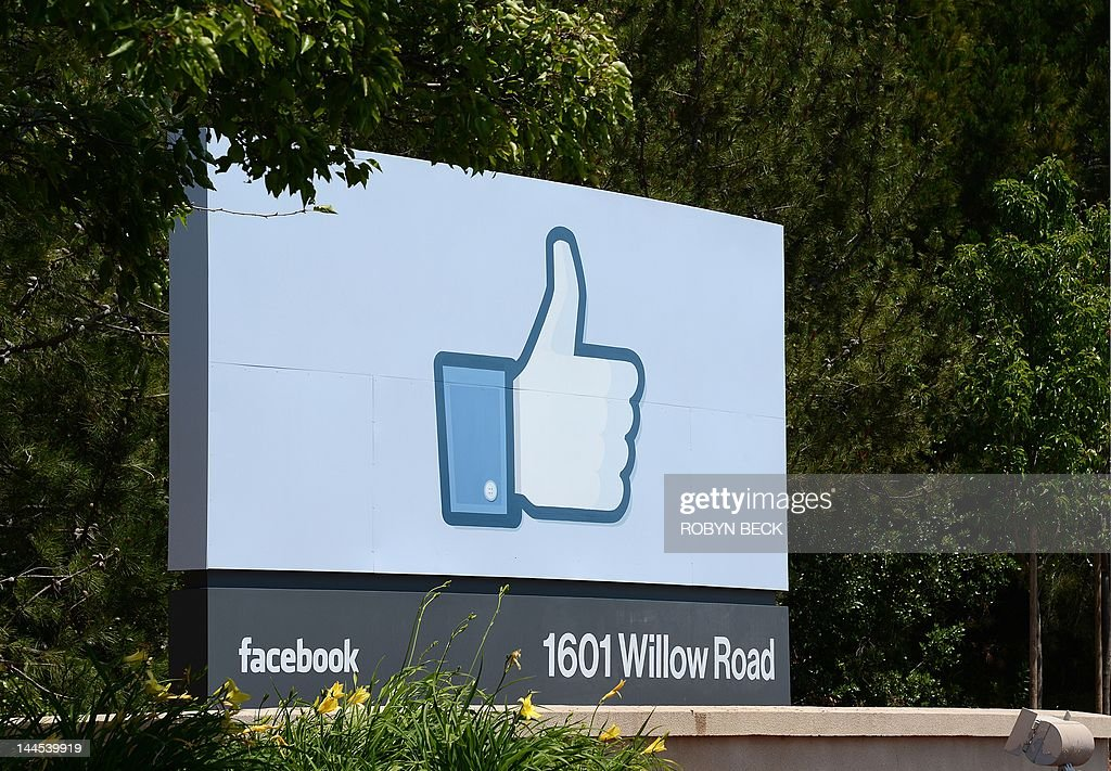 The sign at the entrance to the Facebook main campus in Menlo Park, California, May 15, 2012. Facebook, the world's most popular internet social network, expects to raise USD $12.1 billion in what will be Silicon Valley's largest-ever initial public offering (IPO) later this week. AFP PHOTO / ROBYN BECK